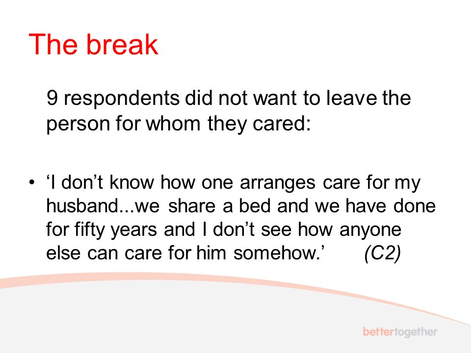 The break 9 respondents did not want to leave the person for whom they cared: 'I don't know how one arranges care for my husband...we share a bed and