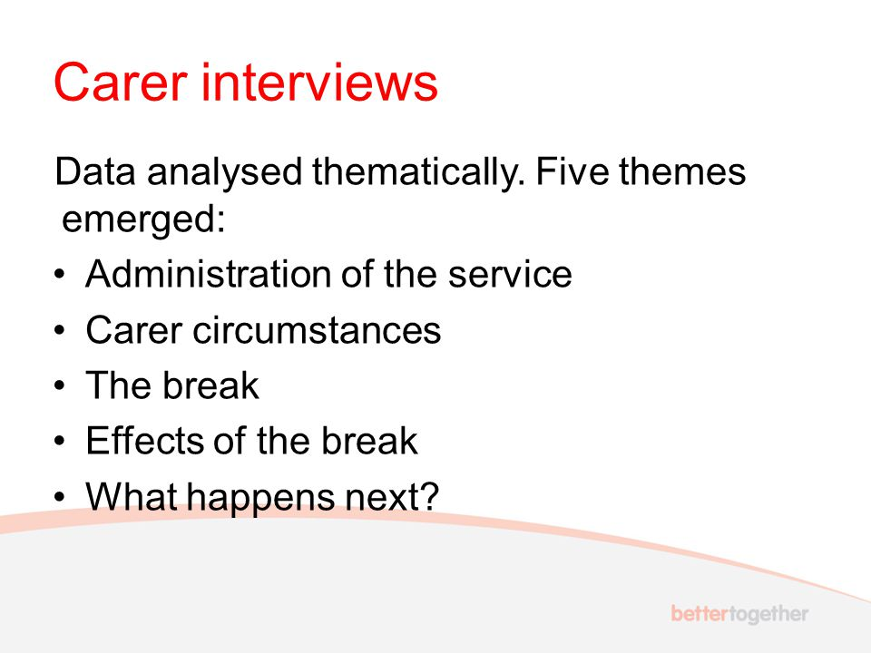Carer interviews Data analysed thematically. Five themes emerged: Administration of the service Carer circumstances The break Effects of the break Wha