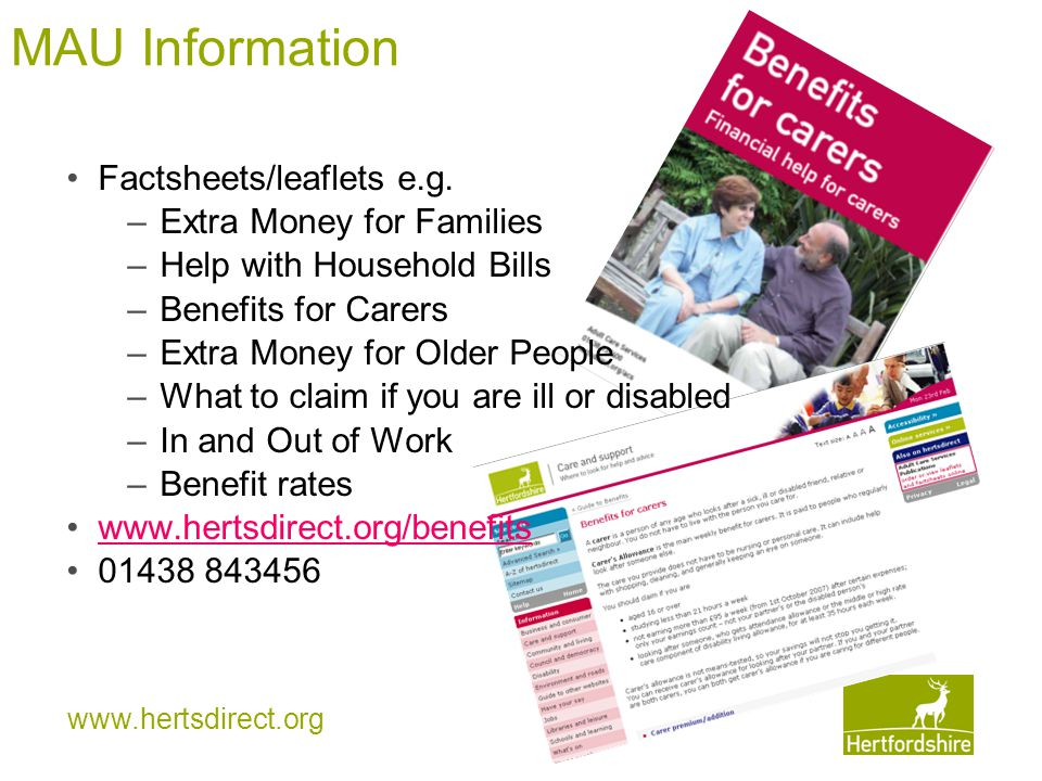 www.hertsdirect.org MAU Information Factsheets/leaflets e.g.