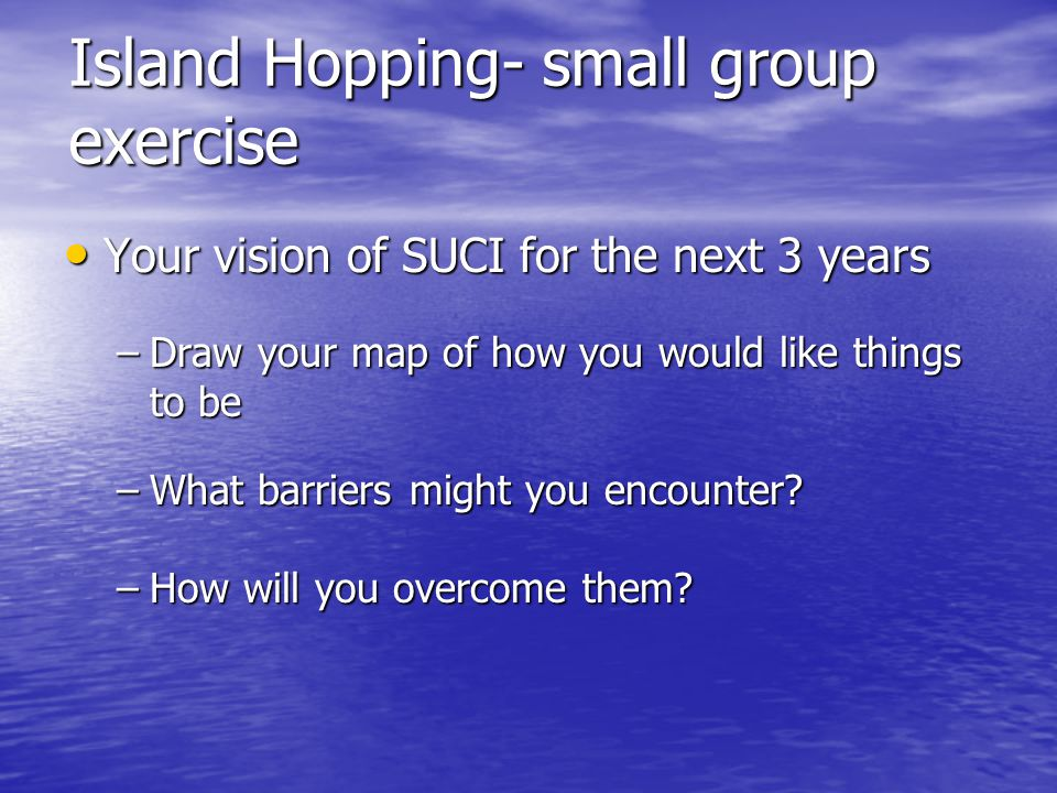 Island Hopping- small group exercise Your vision of SUCI for the next 3 years Your vision of SUCI for the next 3 years –Draw your map of how you would