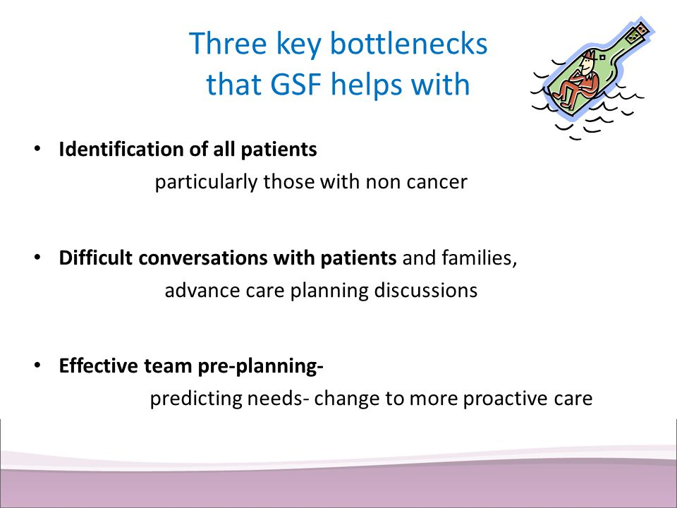 Three key bottlenecks that GSF helps with Identification of all patients particularly those with non cancer Difficult conversations with patients and