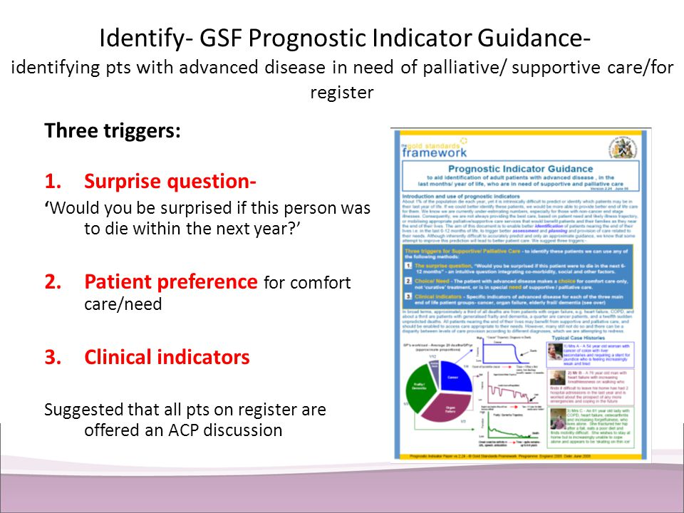 Identify- GSF Prognostic Indicator Guidance- identifying pts with advanced disease in need of palliative/ supportive care/for register Three triggers:
