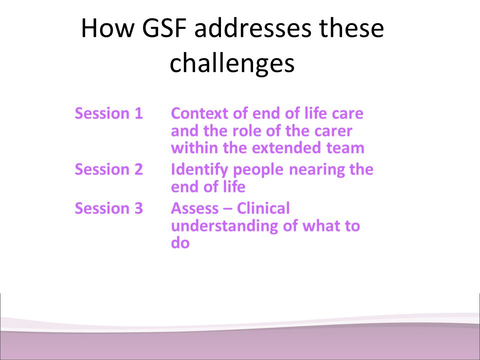 How GSF addresses these challenges Session 1Context of end of life care and the role of the carer within the extended team Session 2Identify people ne