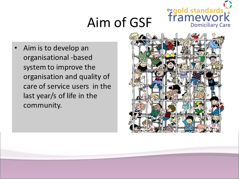 Aim of GSF Aim is to develop an organisational -based system to improve the organisation and quality of care of service users in the last year/s of li