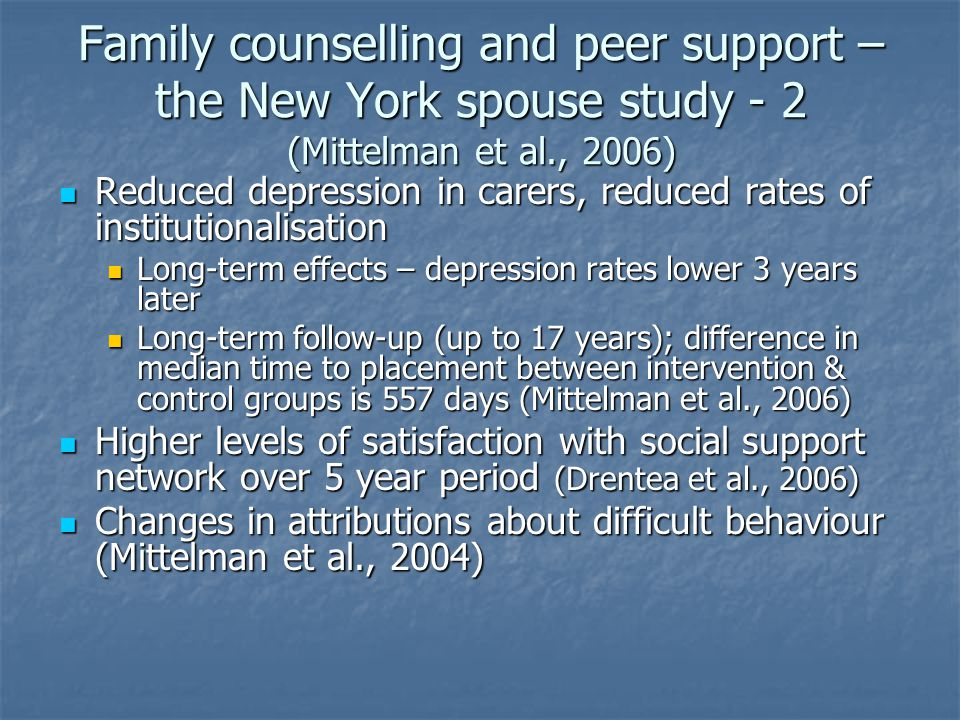 Family counselling and peer support – the New York spouse study - 2 (Mittelman et al., 2006) Reduced depression in carers, reduced rates of institutionalisation Reduced depression in carers, reduced rates of institutionalisation Long-term effects – depression rates lower 3 years later Long-term effects – depression rates lower 3 years later Long-term follow-up (up to 17 years); difference in median time to placement between intervention & control groups is 557 days (Mittelman et al., 2006) Long-term follow-up (up to 17 years); difference in median time to placement between intervention & control groups is 557 days (Mittelman et al., 2006) Higher levels of satisfaction with social support network over 5 year period (Drentea et al., 2006) Higher levels of satisfaction with social support network over 5 year period (Drentea et al., 2006) Changes in attributions about difficult behaviour (Mittelman et al., 2004) Changes in attributions about difficult behaviour (Mittelman et al., 2004)