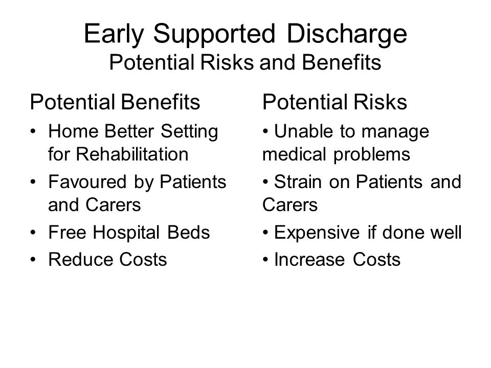 Early Supported Discharge Potential Risks and Benefits Potential Benefits Home Better Setting for Rehabilitation Favoured by Patients and Carers Free