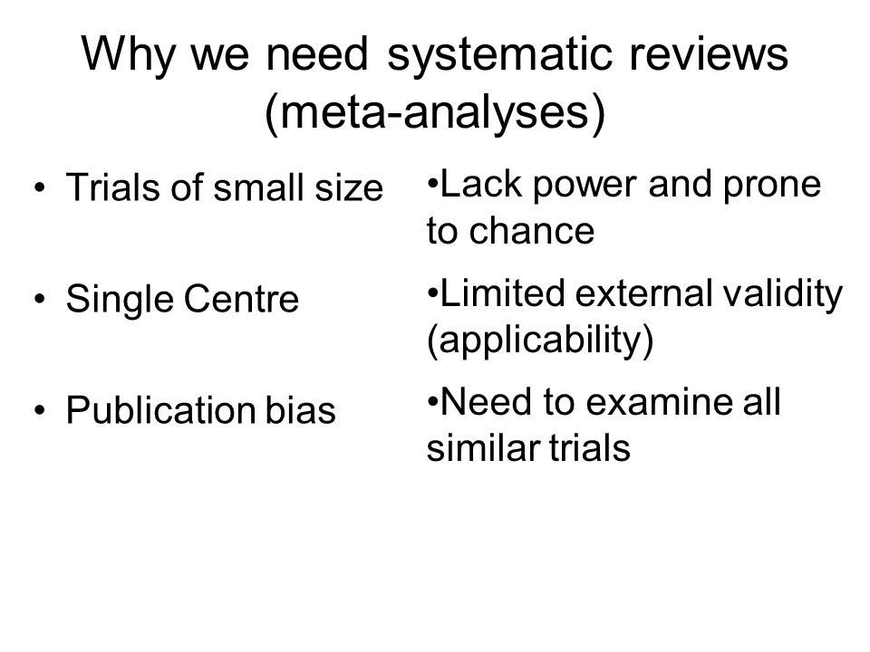 Why we need systematic reviews (meta-analyses) Trials of small size Single Centre Publication bias Lack power and prone to chance Limited external val