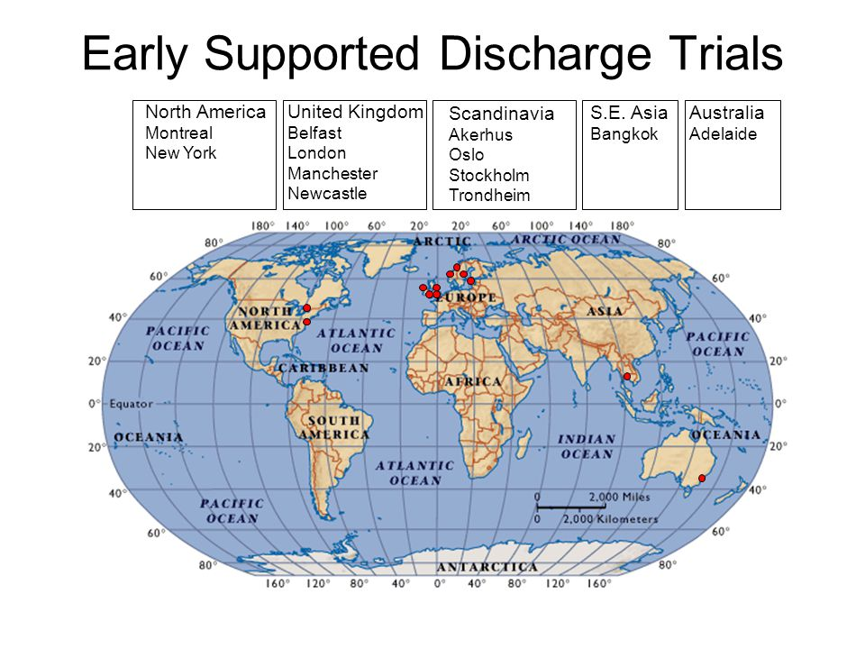 Early Supported Discharge Trials North America Montreal New York United Kingdom Belfast London Manchester Newcastle Scandinavia Akerhus Oslo Stockholm