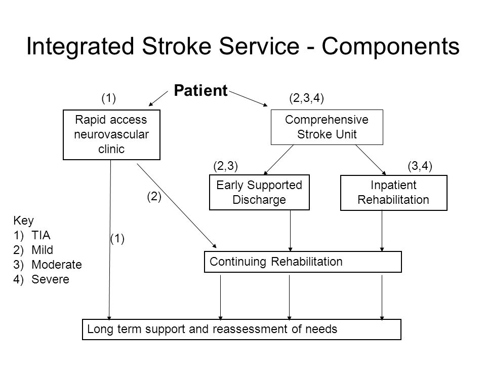 Integrated Stroke Service - Components Patient Rapid access neurovascular clinic Comprehensive Stroke Unit Early Supported Discharge Inpatient Rehabil