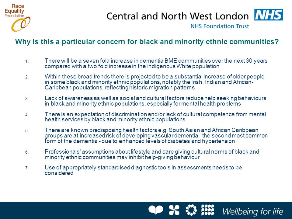 Why is this a particular concern for black and minority ethnic communities? 1. There will be a seven fold increase in dementia BME communities over th