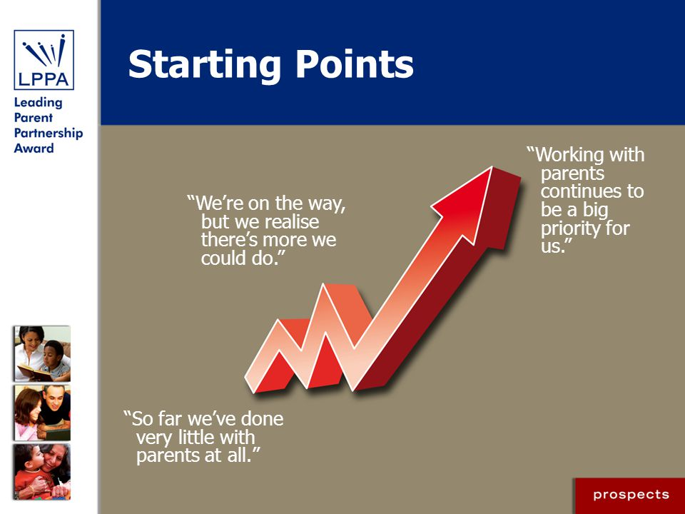 Starting Points So far we've done very little with parents at all. We're on the way, but we realise there's more we could do. Working with parents continues to be a big priority for us.