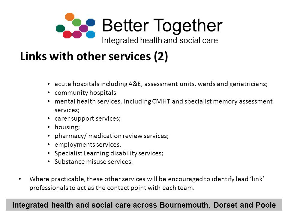 Integrated health and social care across Bournemouth, Dorset and Poole Better Together Integrated health and social care Links with other services (2)