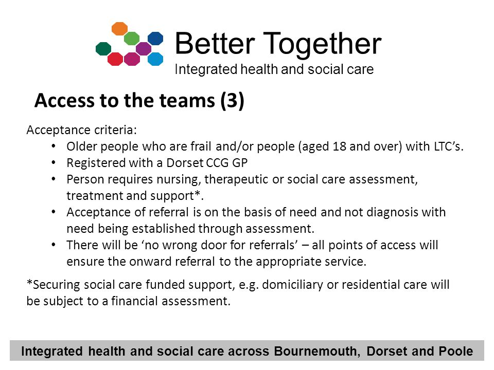 Integrated health and social care across Bournemouth, Dorset and Poole Better Together Integrated health and social care Access to the teams (3) Accep