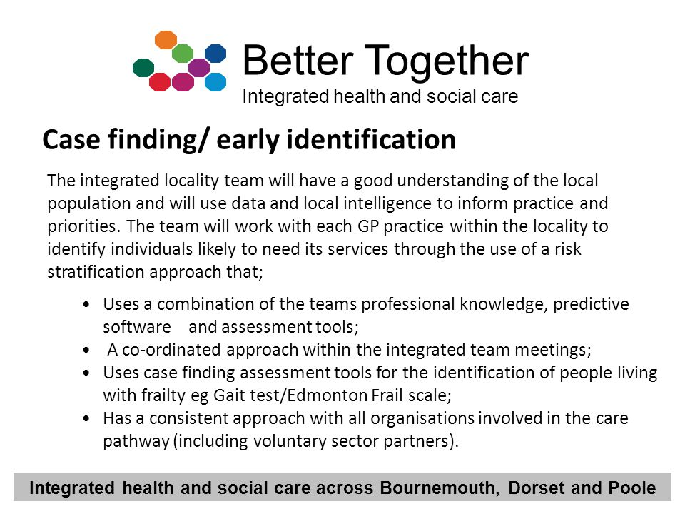 Integrated health and social care across Bournemouth, Dorset and Poole Better Together Integrated health and social care Case finding/ early identific