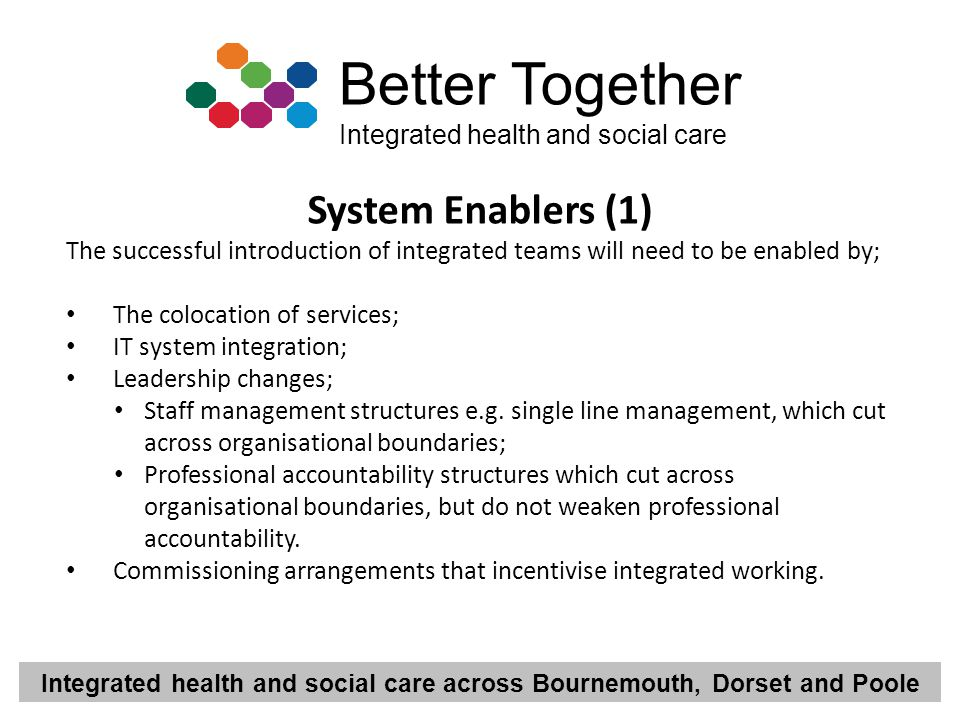 Integrated health and social care across Bournemouth, Dorset and Poole Better Together Integrated health and social care System Enablers (1) The succe