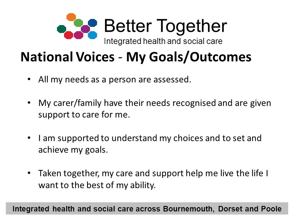 Integrated health and social care across Bournemouth, Dorset and Poole Better Together Integrated health and social care All my needs as a person are