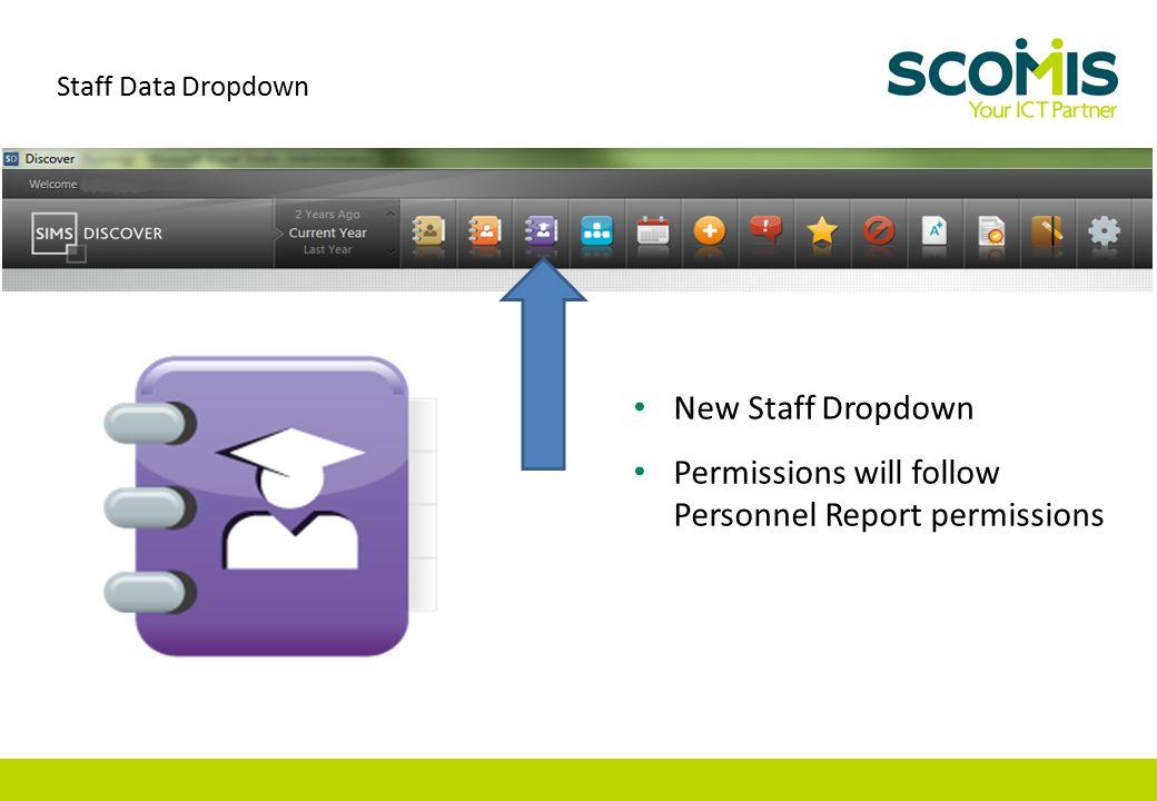 New Staff Dropdown Permissions will follow Personnel Report permissions Staff Data Dropdown