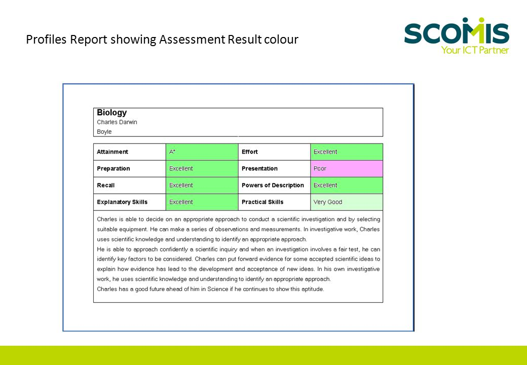 Profiles Report showing Assessment Result colour