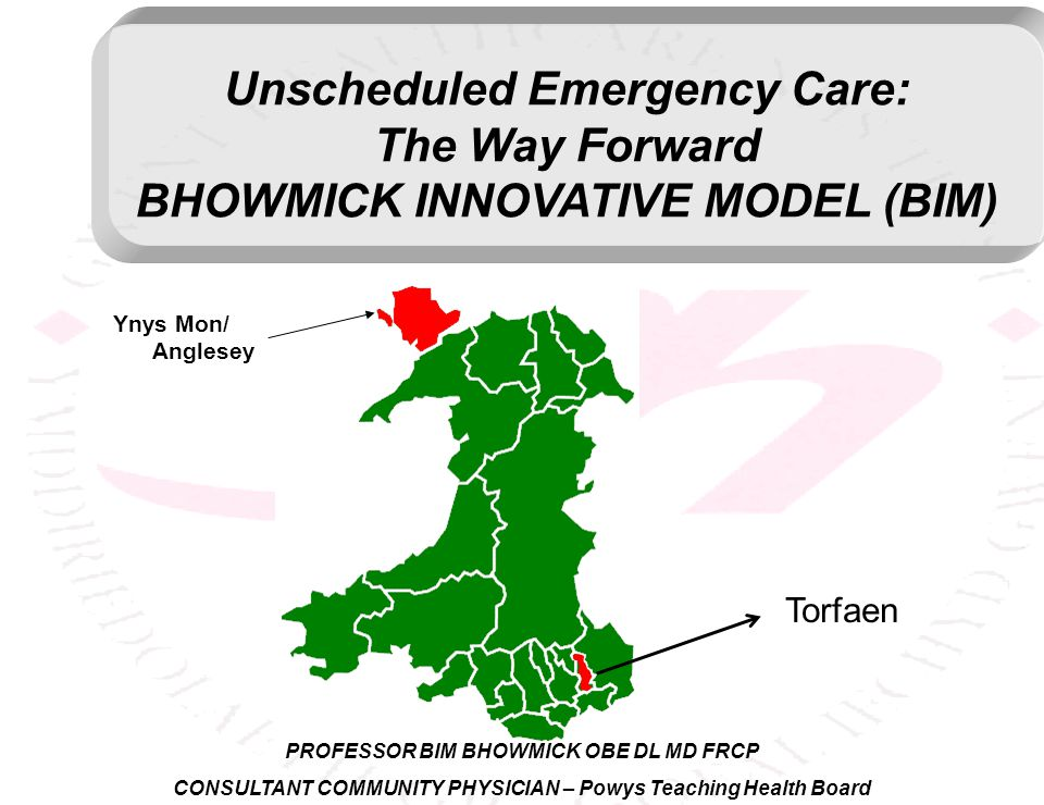 Unscheduled Emergency Care: The Way Forward BHOWMICK INNOVATIVE MODEL (BIM) Torfaen Ynys Mon/ Anglesey PROFESSOR BIM BHOWMICK OBE DL MD FRCP CONSULTANT COMMUNITY PHYSICIAN – Powys Teaching Health Board