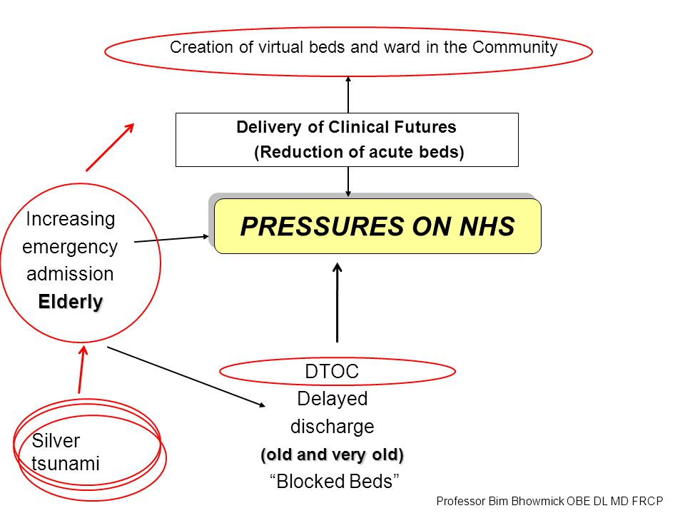 Creation of virtual beds and ward in the Community Increasing emergency admissionElderly DTOC Delayed discharge (old and very old) Blocked Beds PRESSURES ON NHS Delivery of Clinical Futures (Reduction of acute beds) Professor Bim Bhowmick OBE DL MD FRCP Silver tsunami