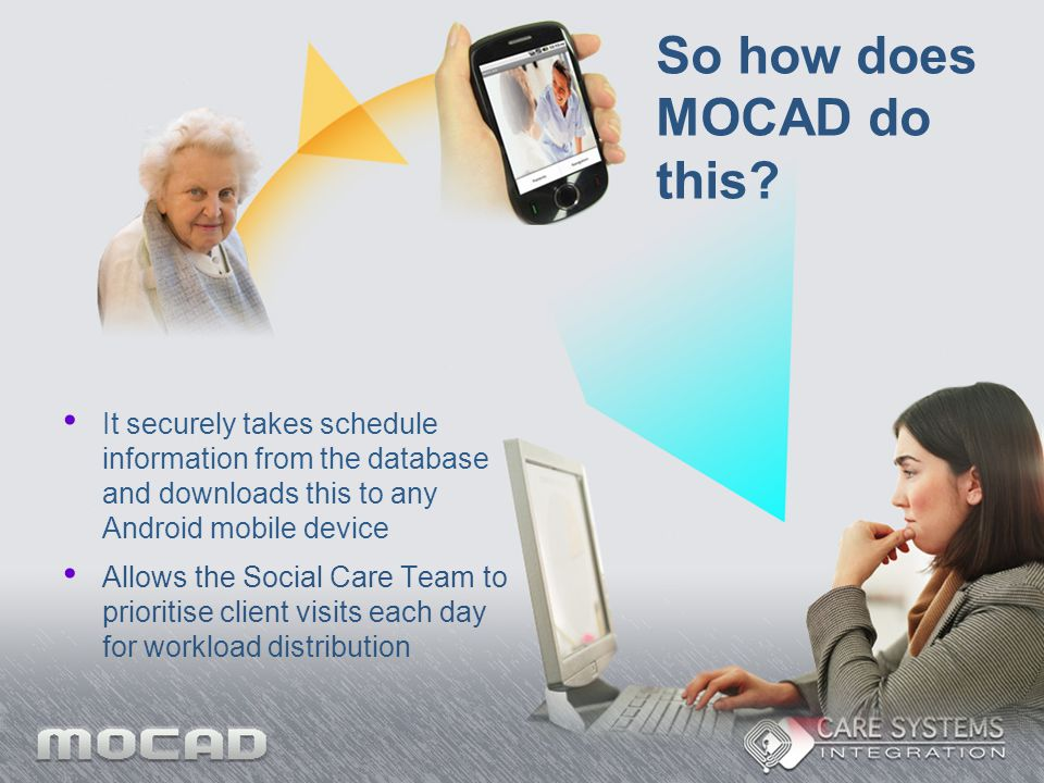 So how does MOCAD do this? It securely takes schedule information from the database and downloads this to any Android mobile device Allows the Social