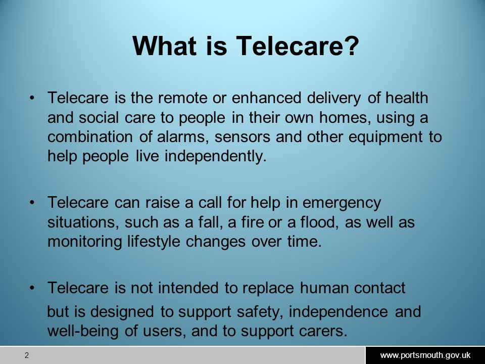 www.portsmouth.gov.uk 2 What is Telecare.
