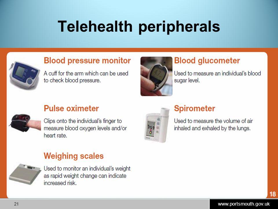 www.portsmouth.gov.uk 21 Telehealth peripherals