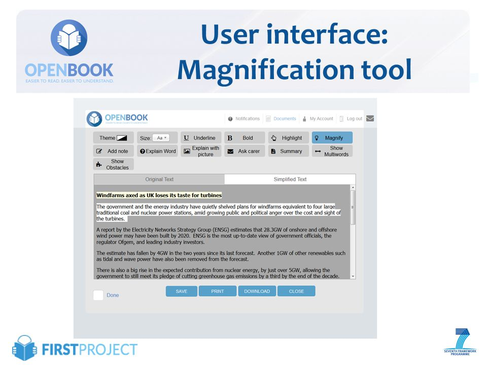 User interface: Explain word feature