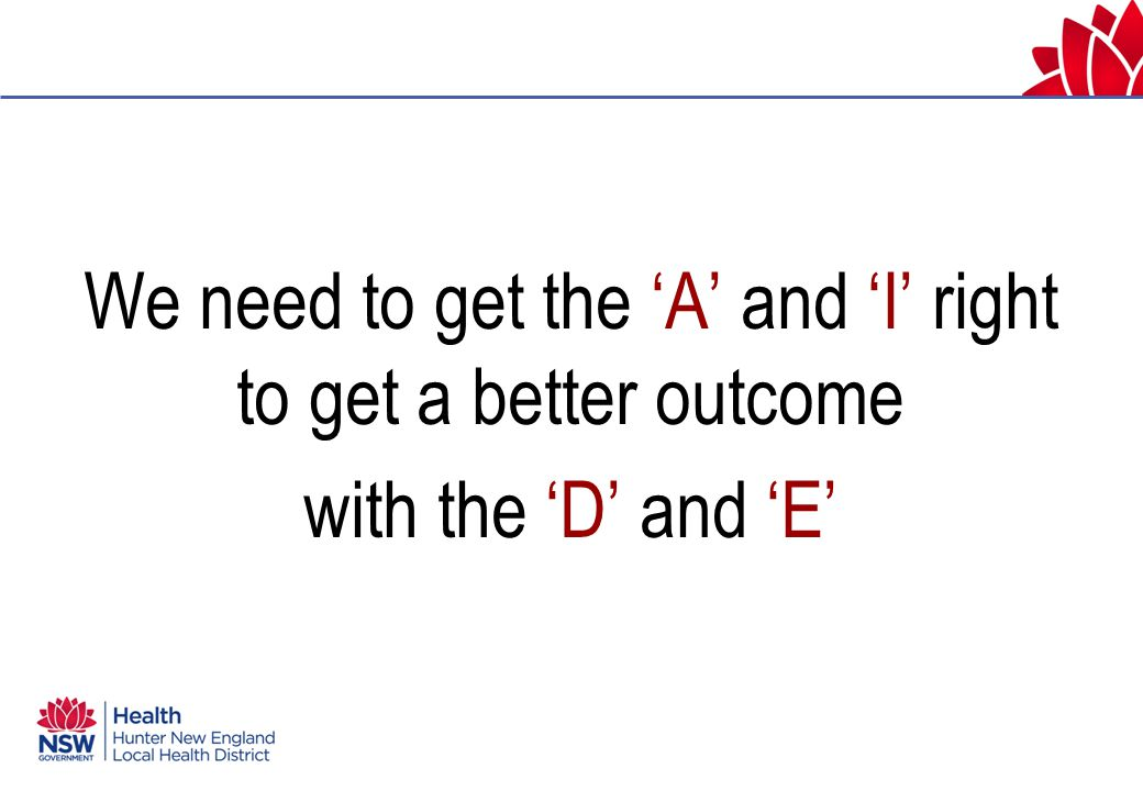 We need to get the 'A' and 'I' right to get a better outcome with the 'D' and 'E'