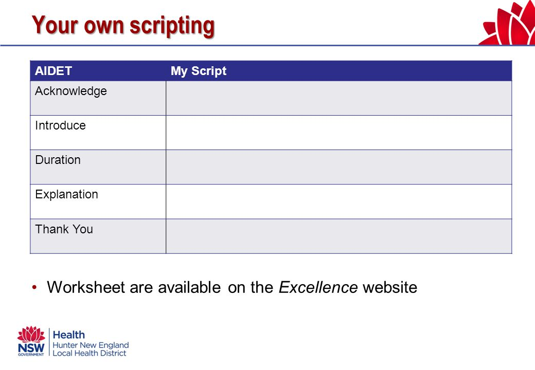 Your own scripting AIDETMy Script Acknowledge Introduce Duration Explanation Thank You Worksheet are available on the Excellence website