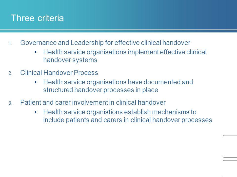 Three criteria 1.