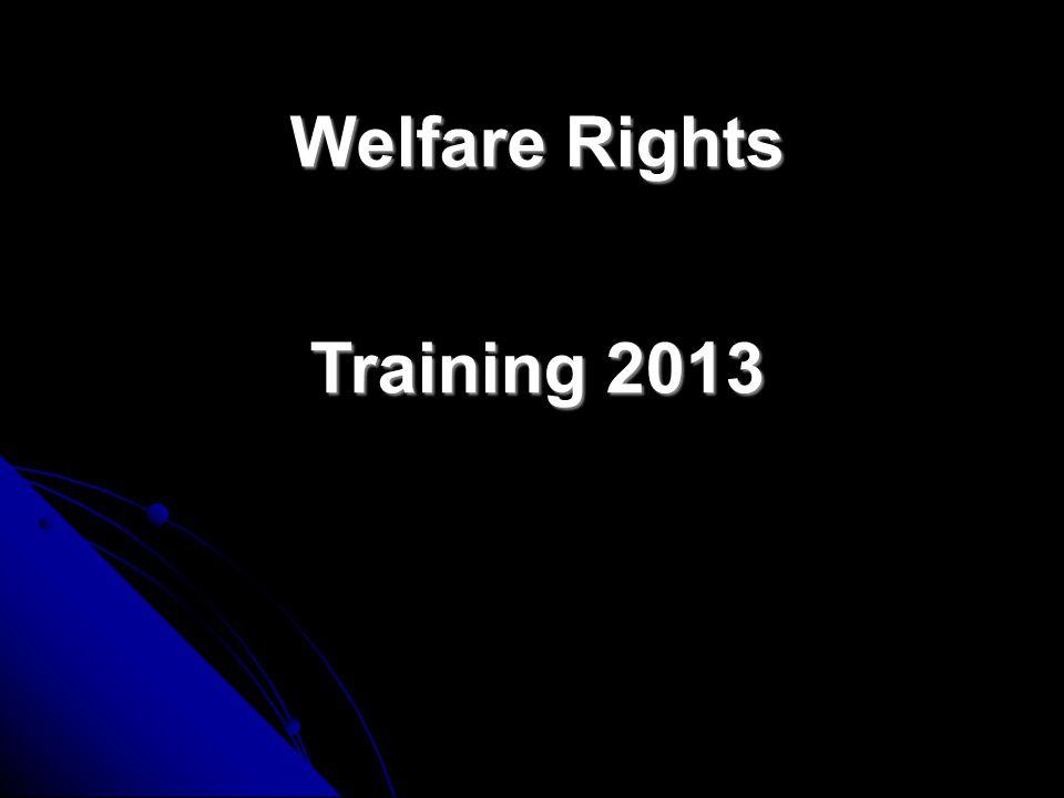 Welfare Rights Training 2013