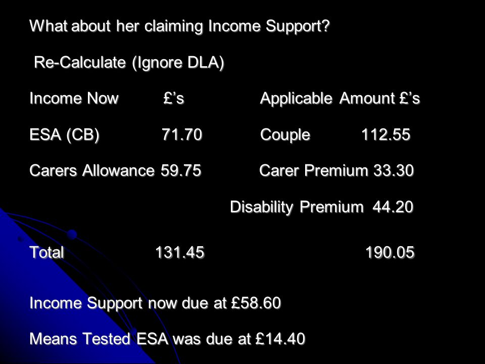 He had in August 2013 the 4 week Working Tax Credit run on at over £100 weekly so at that time he was not due any means tested ESA Any other claims.