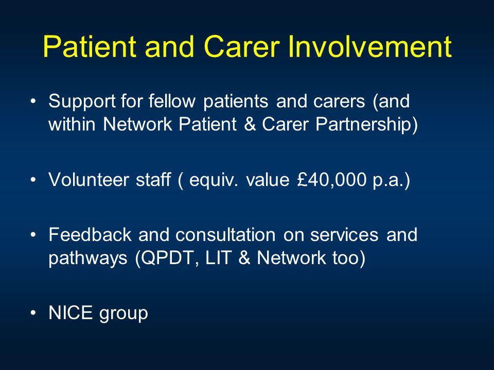 Patient and Carer Involvement Support for fellow patients and carers (and within Network Patient & Carer Partnership) Volunteer staff ( equiv.