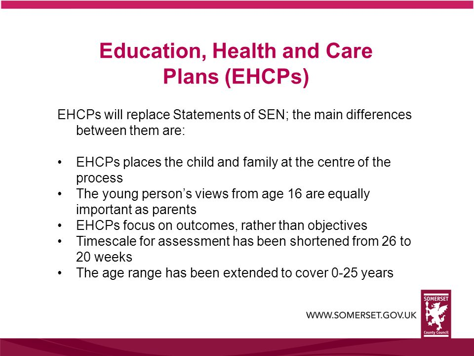 EHCPs will replace Statements of SEN; the main differences between them are: EHCPs places the child and family at the centre of the process The young person's views from age 16 are equally important as parents EHCPs focus on outcomes, rather than objectives Timescale for assessment has been shortened from 26 to 20 weeks The age range has been extended to cover 0-25 years Education, Health and Care Plans (EHCPs)