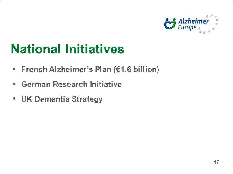 17 National Initiatives French Alzheimer's Plan (€1.6 billion) German Research Initiative UK Dementia Strategy