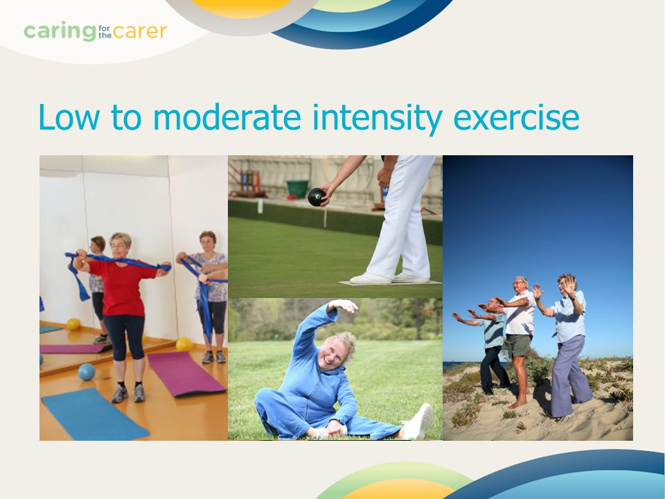 Low to moderate intensity exercise