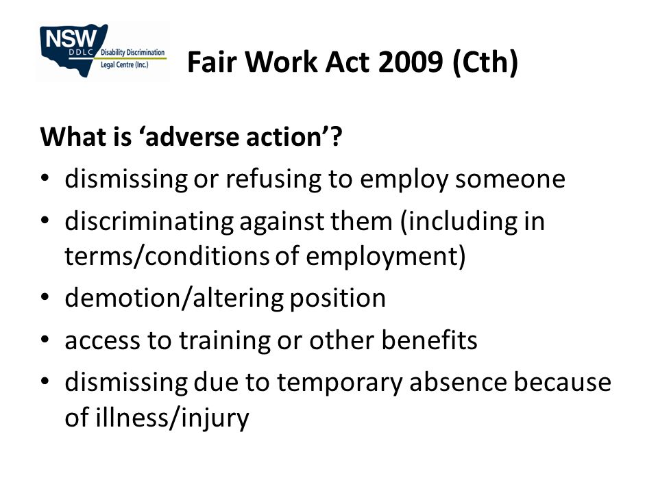 Fair Work Act 2009 (Cth) What is 'adverse action'.
