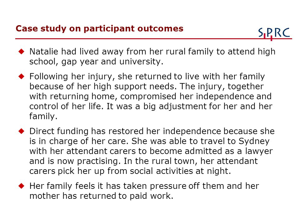 Case study on participant outcomes uNatalie had lived away from her rural family to attend high school, gap year and university.