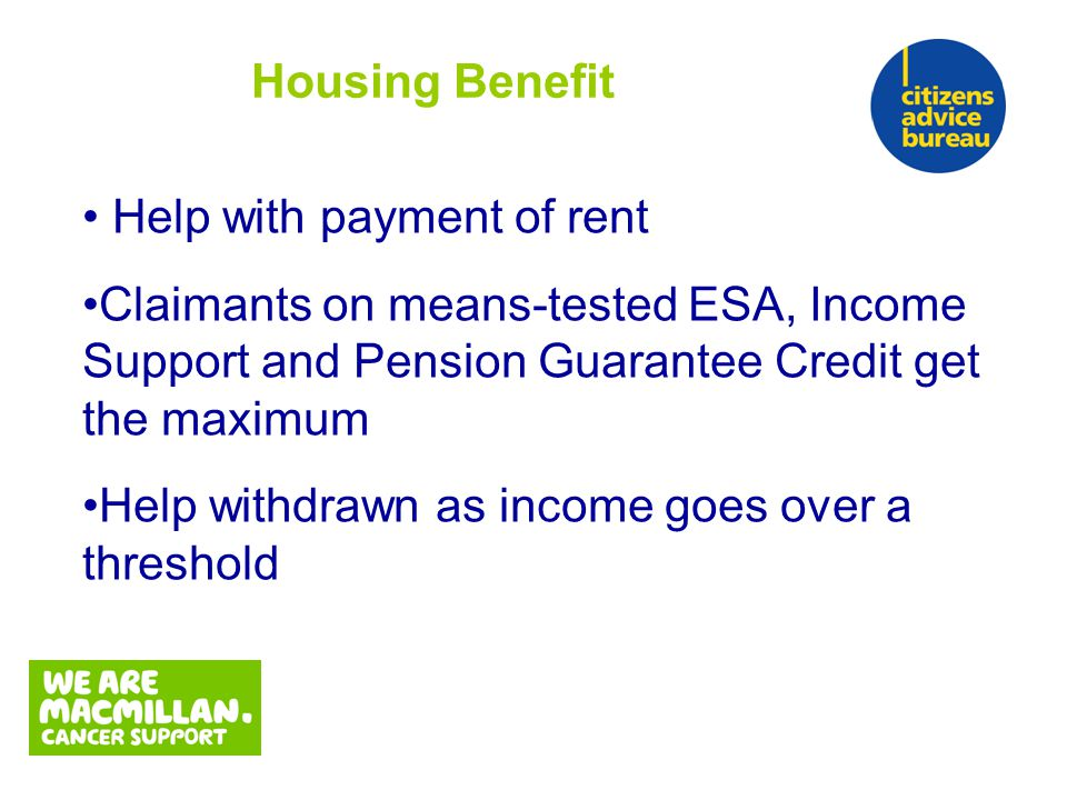Help with payment of rent Claimants on means-tested ESA, Income Support and Pension Guarantee Credit get the maximum Help withdrawn as income goes over a threshold Housing Benefit