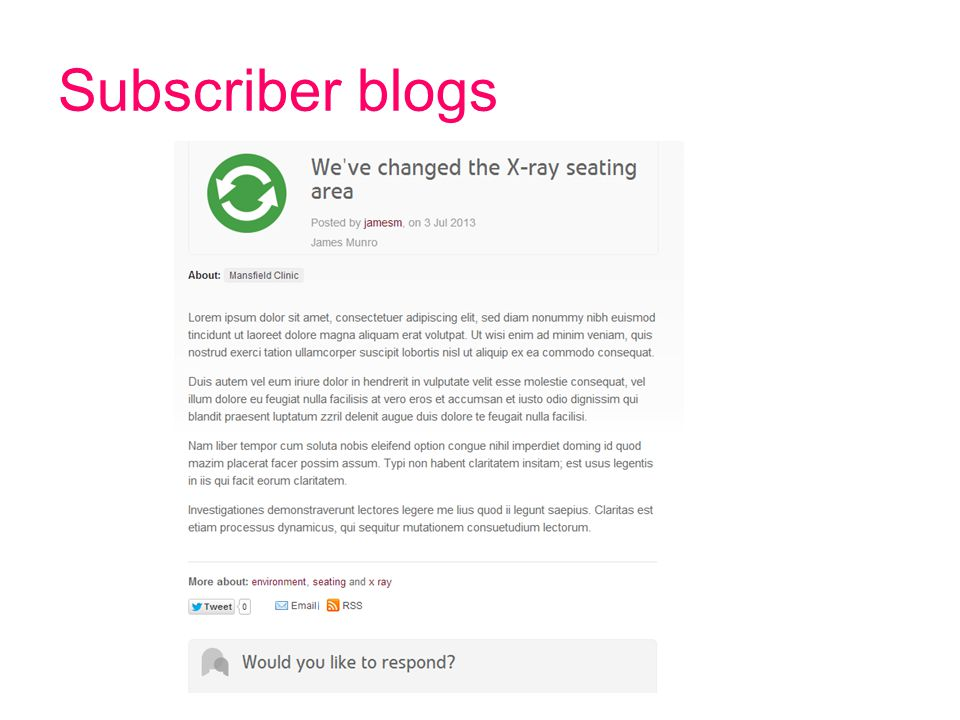 Subscriber blogs