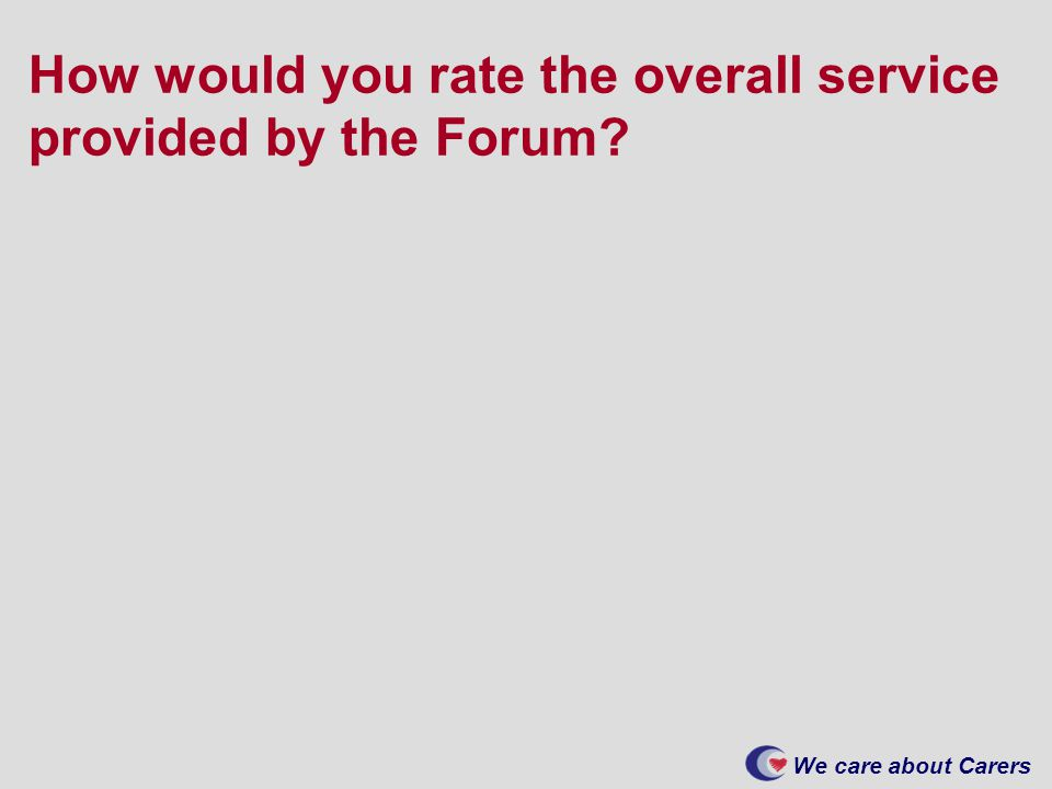 We care about Carers How would you rate the overall service provided by the Forum