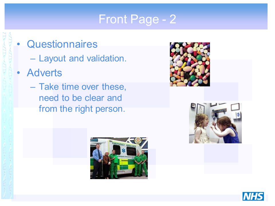 Front Page - 2 Questionnaires –Layout and validation.