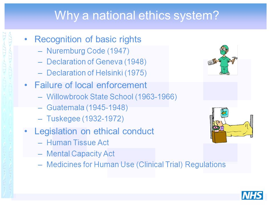 Recognition of basic rights –Nuremburg Code (1947) –Declaration of Geneva (1948) –Declaration of Helsinki (1975) Failure of local enforcement –Willowb
