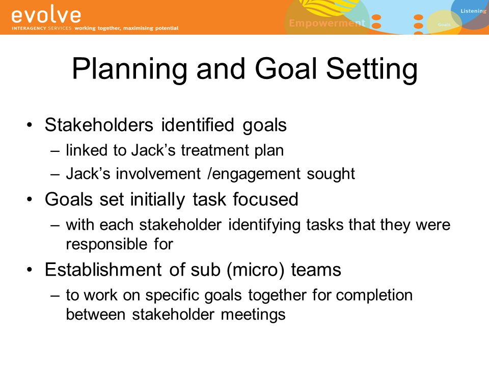 Planning and Goal Setting Stakeholders identified goals –linked to Jack's treatment plan –Jack's involvement /engagement sought Goals set initially ta