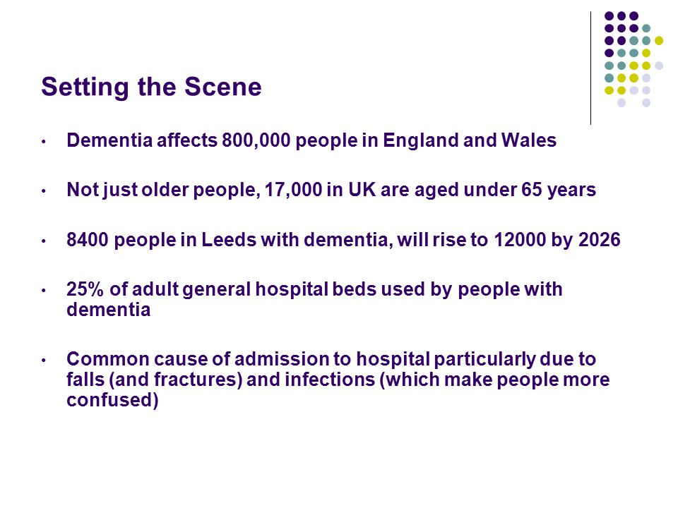 Setting the Scene Although dementia is very common it is under recognised (even by health professionals) and under diagnosed only 45% (data from 2013) of people with dementia in UK have a formal diagnosis Prime Minister has set a challenge to increase the number of people diagnosed with dementia to 66% by 2015