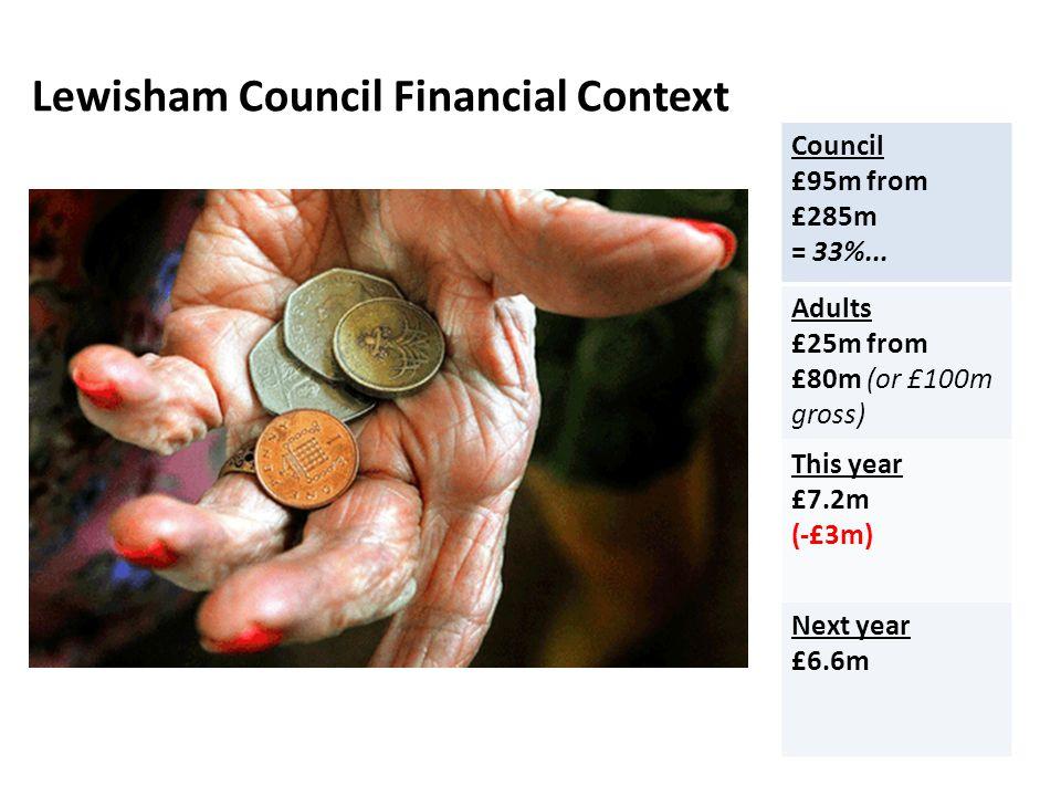 Lewisham Council Financial Context Council £95m from £285m = 33%...