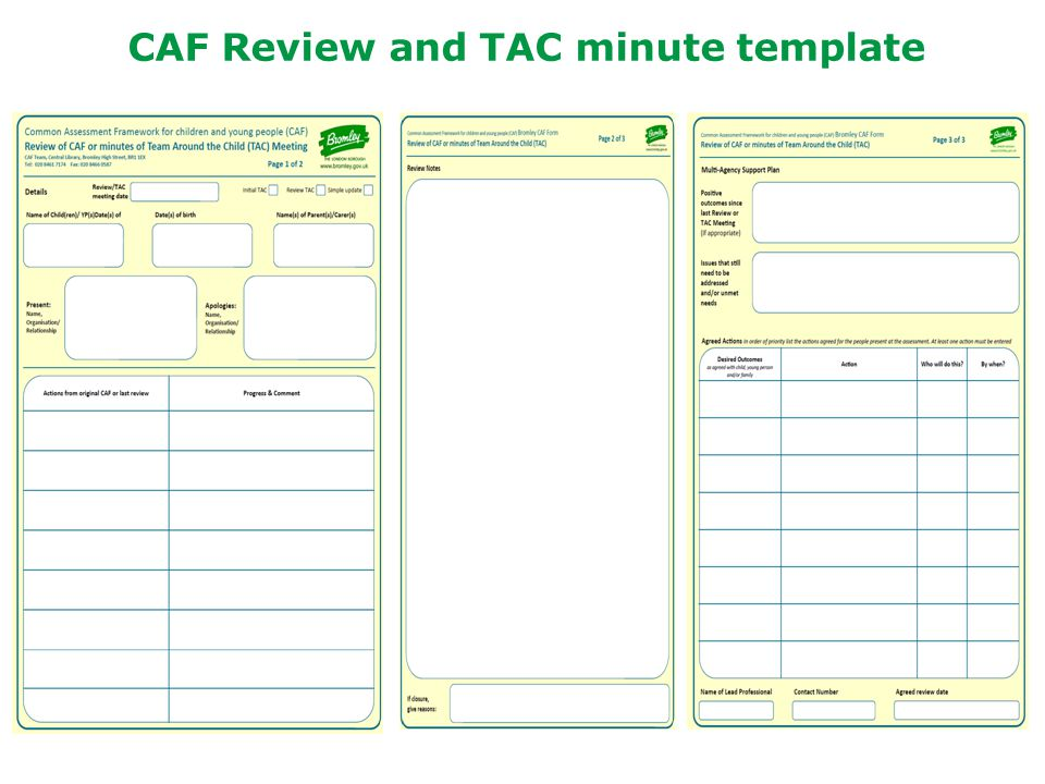 CAF Review and TAC minute template