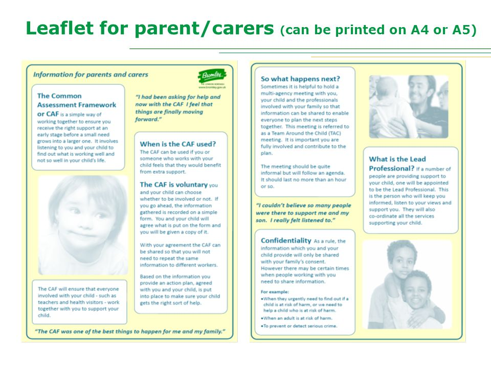 Leaflet for parent/carers ( can be printed on A4 or A5)