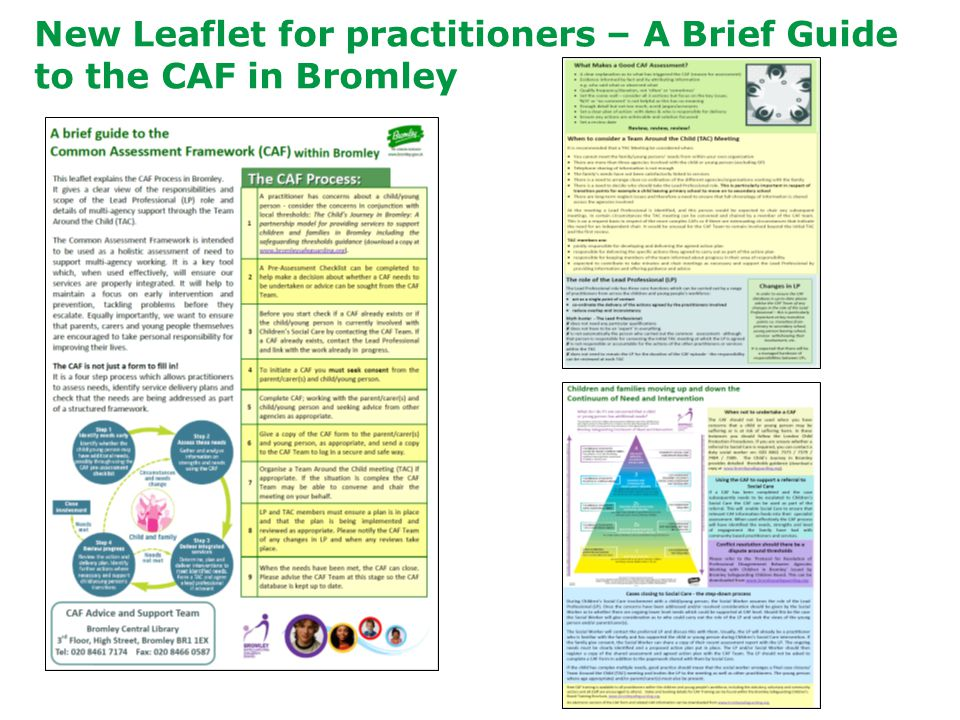 New Leaflet for practitioners – A Brief Guide to the CAF in Bromley